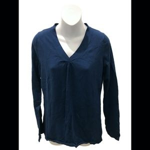 Ann Taylor Loft Blue V-Neck Long Sleeve Sweater